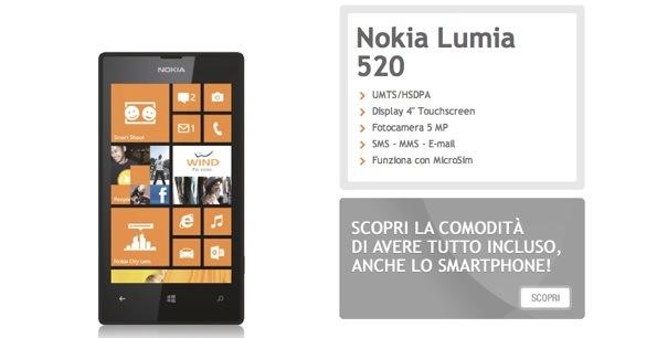 Nokia lumia 520 inserito nel catalogo smartphone di wind